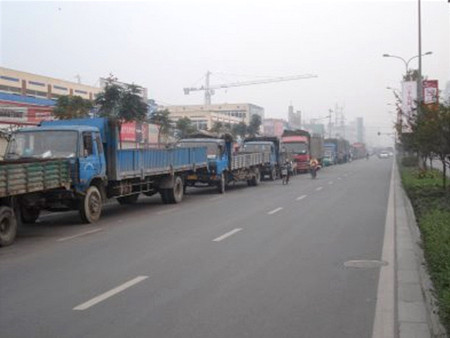 Trucks lining up for diesel